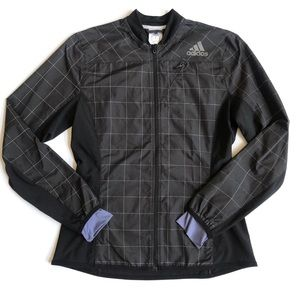 Adidas windowpane windbreaker running jacket